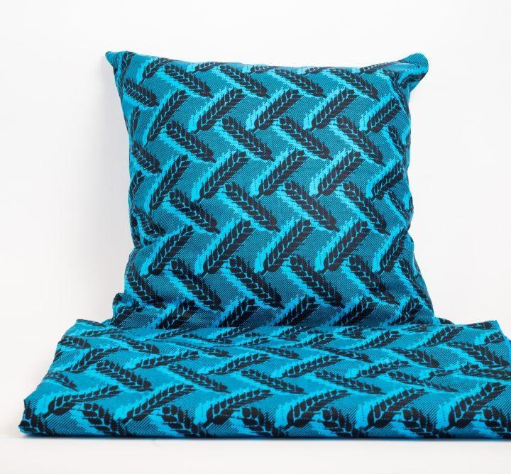 Housse de couette Wax + Taie d'oreiller bleues