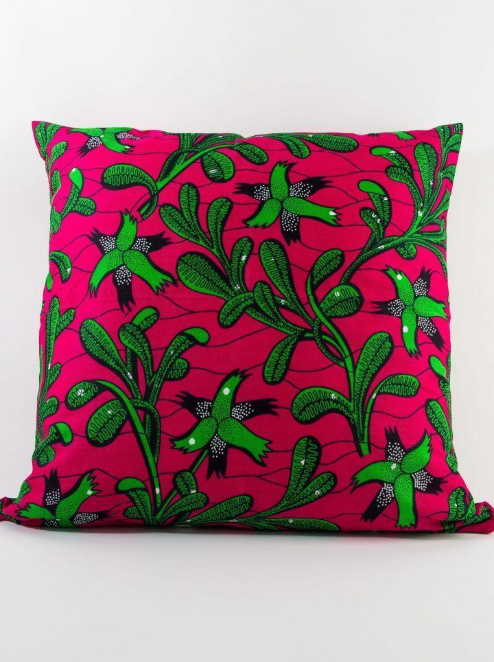 Housse de coussin wax rose et verte