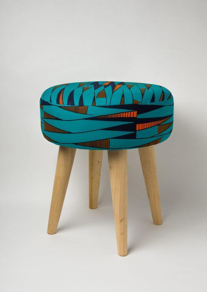 Tabouret Wax bleu turquoise