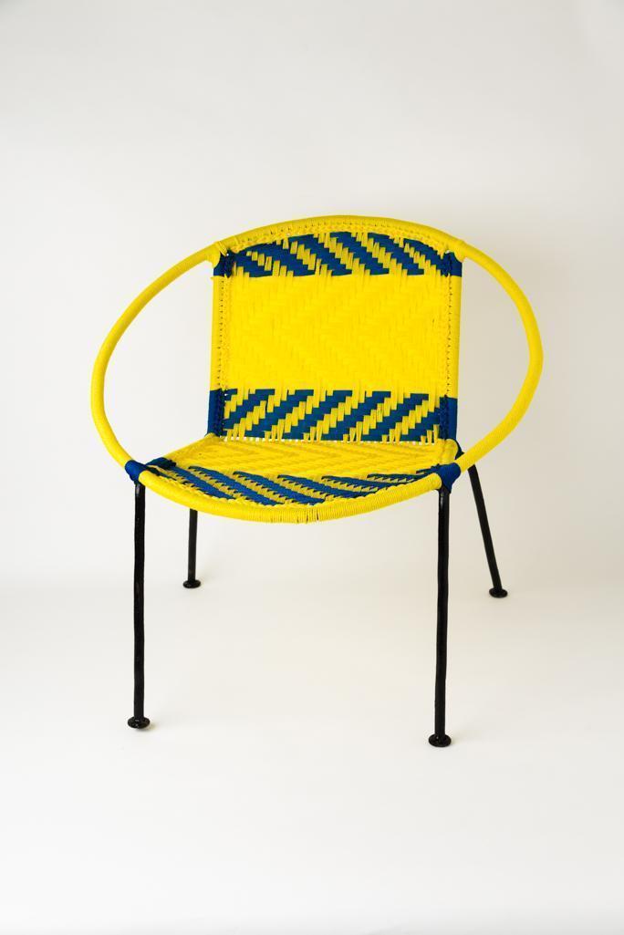Chaise scoubidou jaune