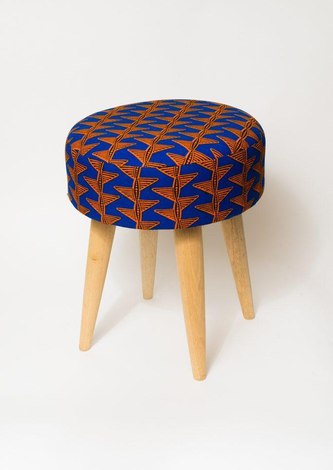 Tabouret Wax orange et bleu
