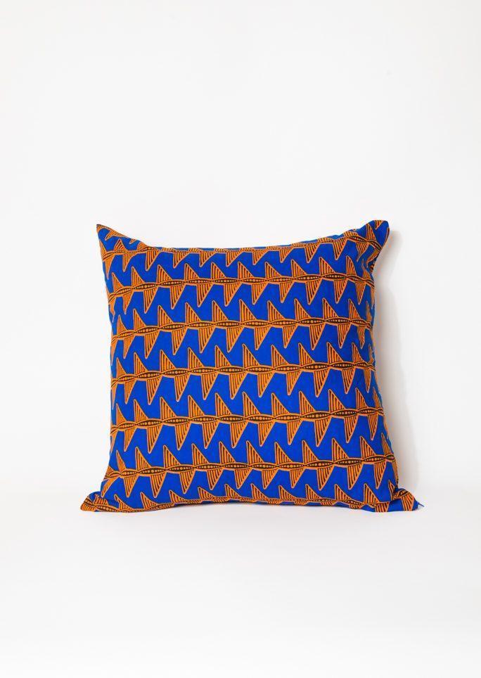 Housse de coussin Wax vagues bleues