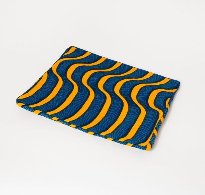 Pochette iPad jaune et bleue